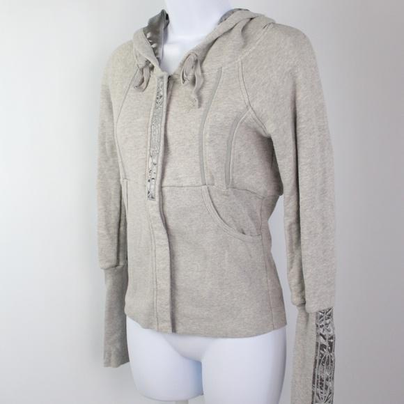 Free People Jackets & Blazers - Free People gray satin full zip hoodie jacket